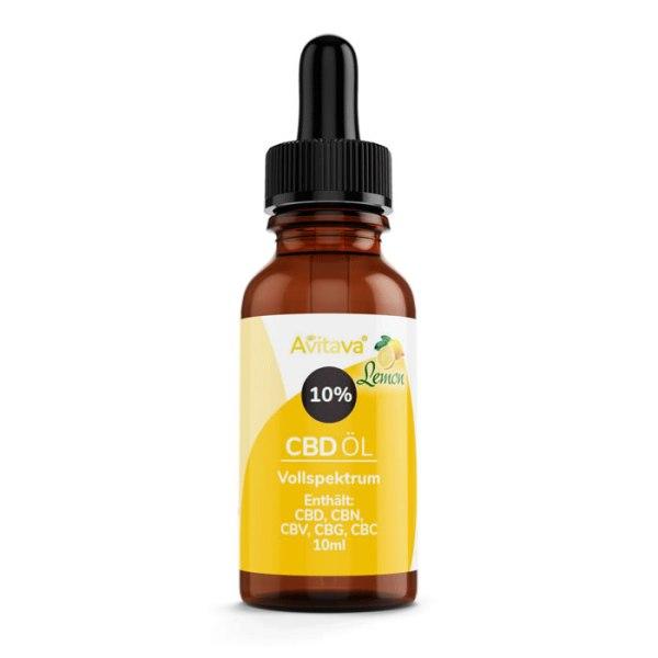 Avitava Lemon (Zitrone) 10% CBD Öl im Vollspektrum 10 ml