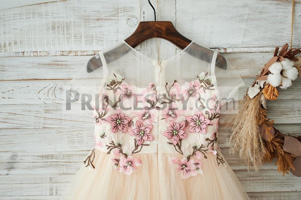 Sheer Cap Sleeves Champagne Tulle Flower Girl Dress W