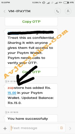 image(zapstore sign up bonus in PayTM)