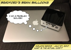 """A picture of two computers, one jas the thought bubble that says """"I am a problem solver!"""""""