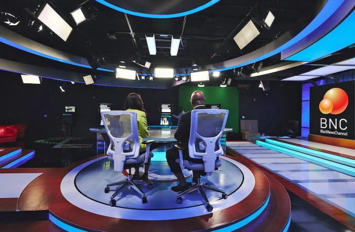 Brightline LED Fixtures on set of new Black News Channel