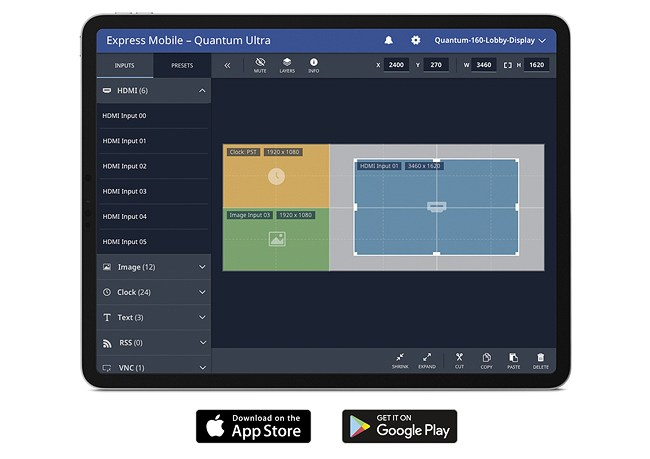 Extron Quantum Ultra mobile app for video walls is now available