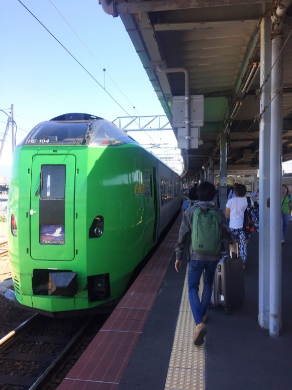 The green train that goes under the water.