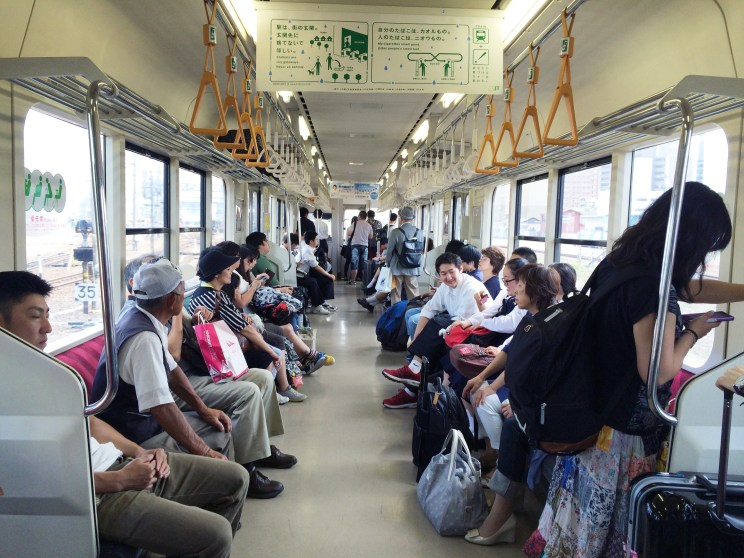 in the local train on our way to Hirosaki