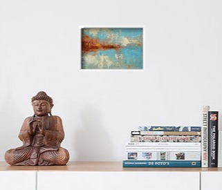 Blessed Beacon framed original displayed in interior setting.