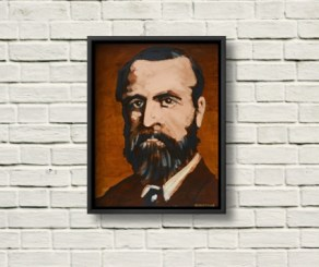 C.S. Parnell portrait framed in black on a rustic white wall.