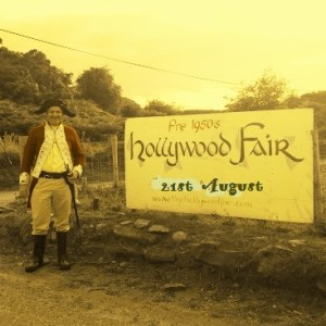 2015 Hollywood Fair sign and redcoat.