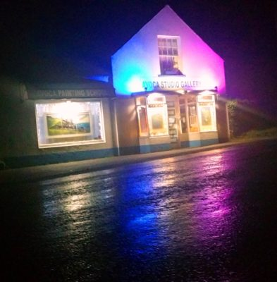 Avoca Gallery lit up for Christmas.