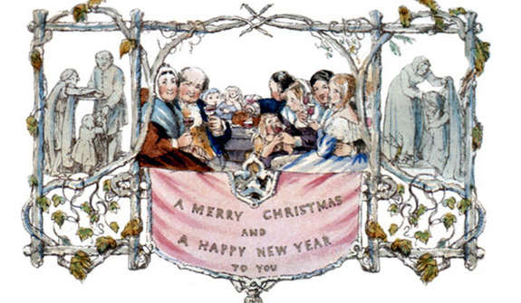 The first Christmas Card features a banquiting family from the 1840's.