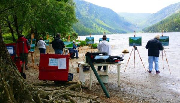 Students depicting the Upper Lake at last years Glendalough Painting Workshop.