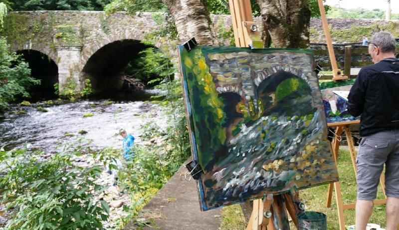 Students depict the bridge at Meetings of the Waters Workshop last summer.