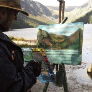 Rod Coyne gives a painting demonstration at Glendalough Upper Lake.