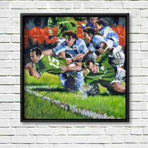 Ireland V Pumas, framed Print on White Wall.