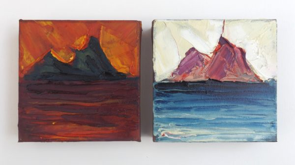 "Rod Coyne Shortlisted ""Skellig Fire & Ice"" oil on canvas, 2x 15x15cm."