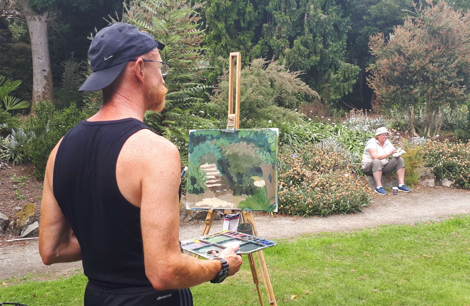Students painting the afternoon away in Kilmacurragh Botanical Gardens.
