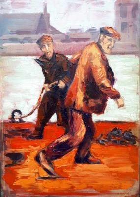 "In Dublin Docklands the ""Hot Dockers"" by Rod Coyne interprets a vintage image depicting men at work through a palette of fiery reds, oranges and pinks."