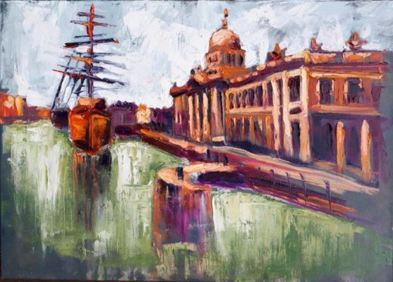 """Masts at Customhouse"" 50x70cm, oil-canvas."