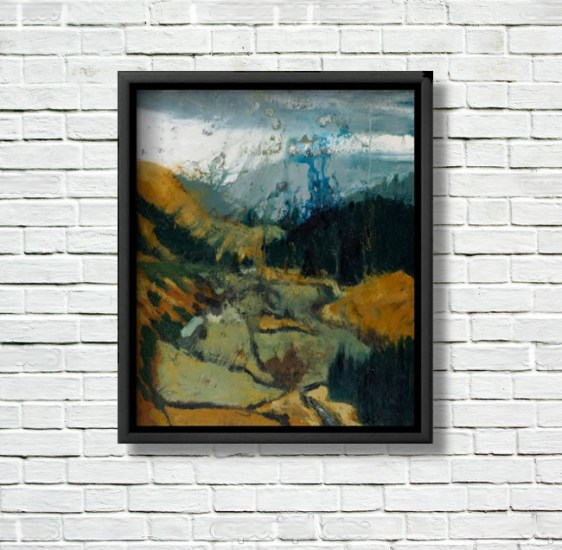"""""""Pilgrims Way, Wicklow Gap"""" canvas print displayed in a black frame on a white brick wall."""