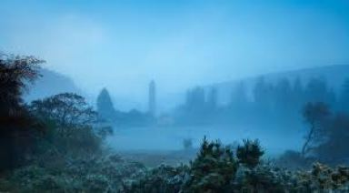 The Pilgrims Way leads to a misty monastery in Glendalough.