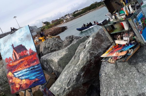 Art in the Open 2017, and Rod's red version of the church at Kilmore Quay, Co. Wexford.