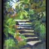 Kilmacurragh Stairs canvas print framed in black.