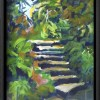 Kilmacurragh Stairs canvas print framed in black.