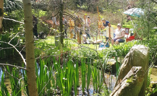 Painting is relaxing in the afternoon sun with Rod Coyne at Knockanree Gardens.
