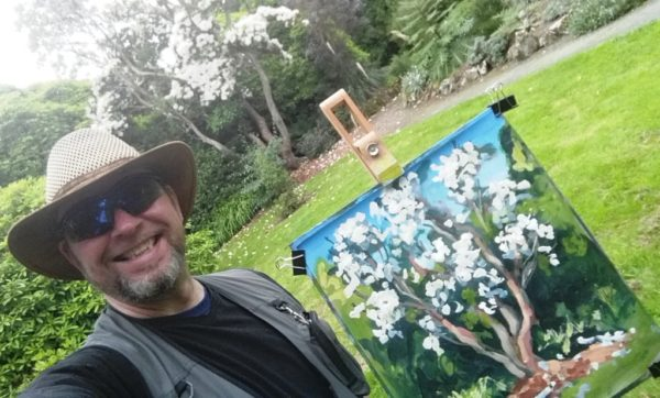 Workshop at Kilmacurragh : Rod Coyne with his painting demo at Kilmacurragh's Botanical Gardens.