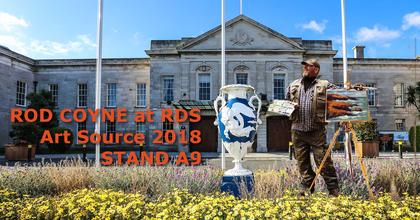 Rod Coyne at Art Souce photomontage of Rod infront of RDS building