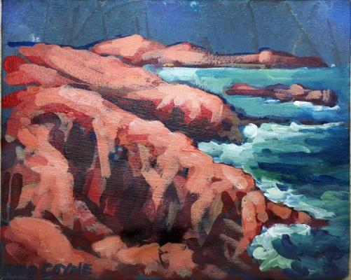 "Image of Rod Coyne's ""Achill Rouge"", 20x25cm, acrylic on canvas."