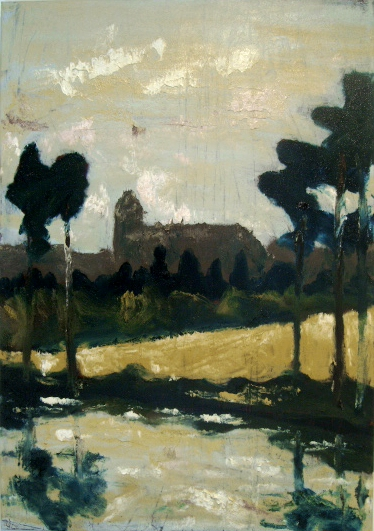 "Image of painting ""Church at Roundwood"" by Rod Coyne, 70x100cm, oil on canvas, €2900."