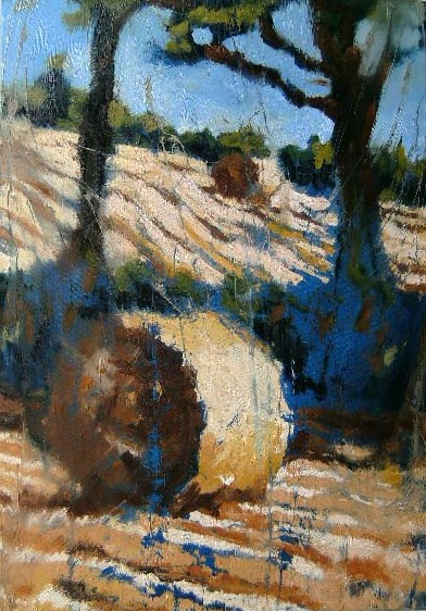 "Image of painting ""Hay Bale"" by Rod Coyne, 70x100cm, oil on canvas, €2900."