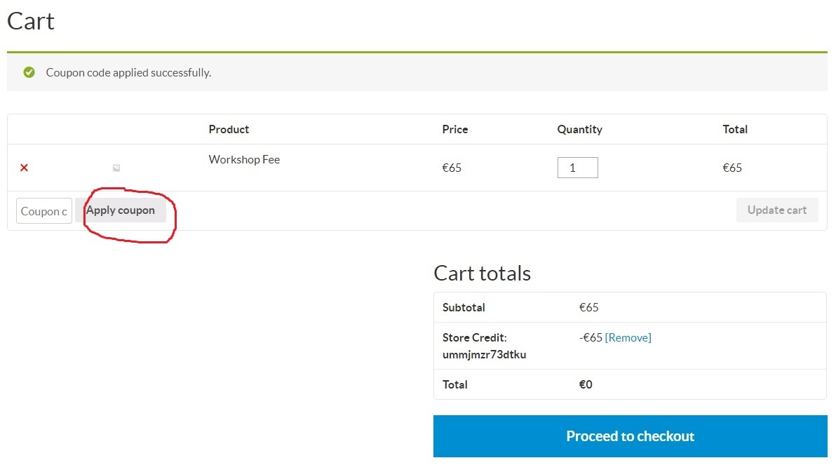 screen shot: sample coupon applied