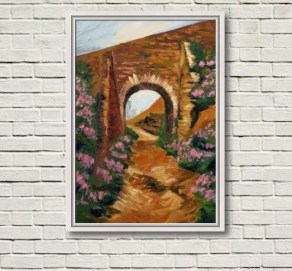 "This photo shows ""Tram Bridge, Avoca Mines"" the original canvas in white frame on a white wall."
