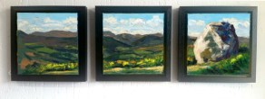 The Mottee Stone Triptych in three black frames.