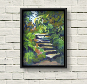 Kilmacurragh Stairs canvas print framed in black on a white brick wall.