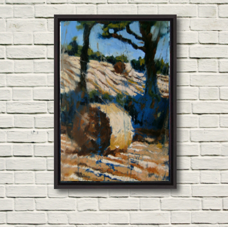 """Photo of """"Two Bales, Two Trees"""", canvas print in a black frame."""