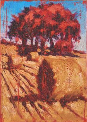 harvest painting by artist rod coyne entitled scarlet harvest