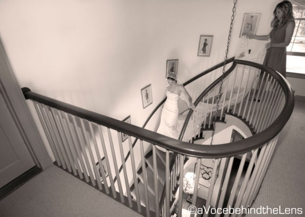 As I walked into the Main House where the bride was getting ready, I fell in love with the staircase and the idea of photographing the bride's exit. I managed to catch her on her way down, and it is still one of my favorite pictures from the day.
