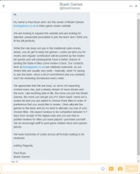 Twitter Direct Message to Me from Paul Ryan of Brash Games