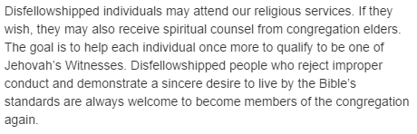 Disfellowshipped individuals may attend our religious services