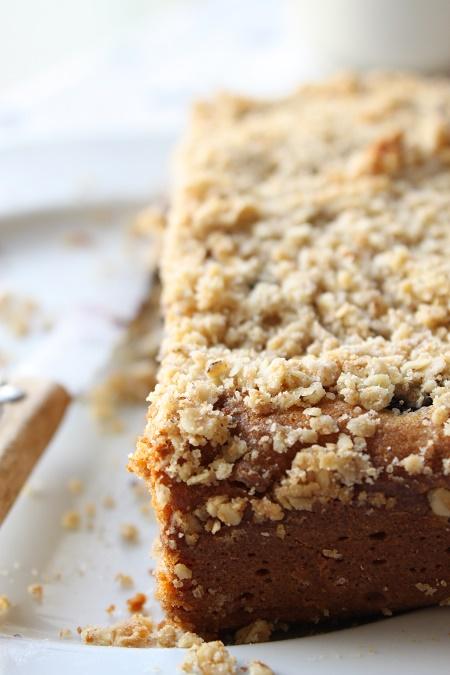 Gâteau aux myrtilles chocolat blanc et crumble