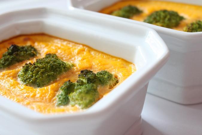 Flans aux carottes, gingembre et brocolis