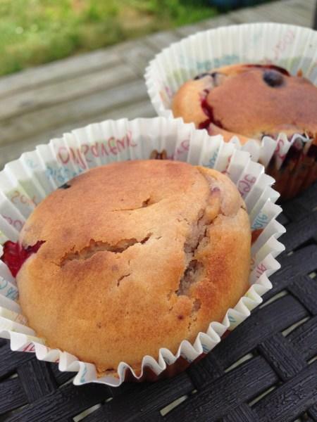 Muffins aux fruits rouges sirop d'érable et lait ribot