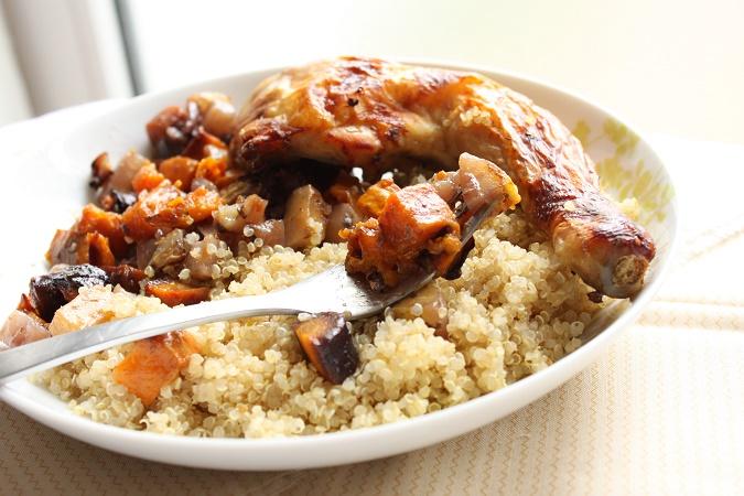 Poulet et légumes rôtis au miel