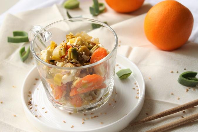 Poêlée de poireaux carotte fêta orange