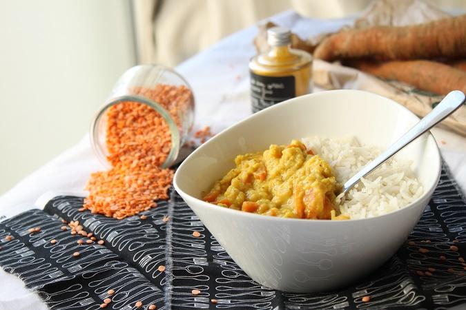 Curry de carottes et lentilles corail dhal