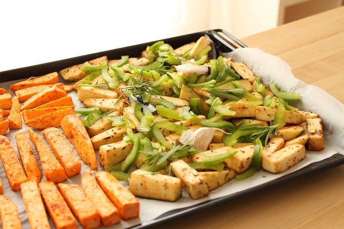 Aubergine et poivron rôtis