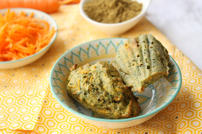 Madeleines salées carottes et fanes