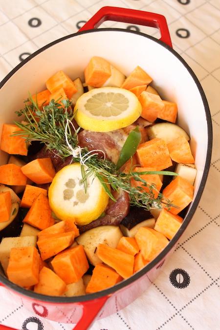 Rôti porc poivron aubergine patate douce